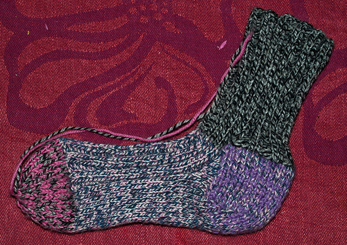 Black and pink knitted socks
