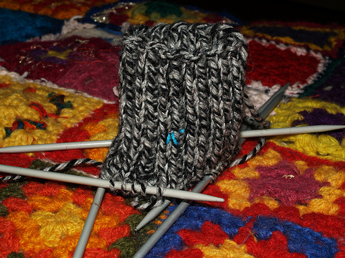black hand knitted ragg socks