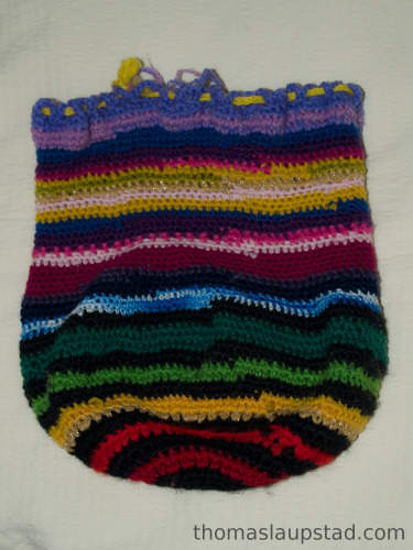 Hand crocheted storing bag