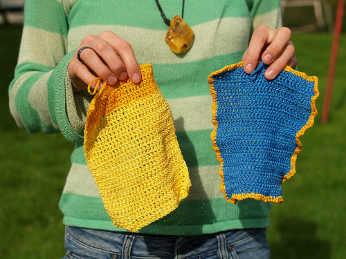 Colored crocheted washcloths