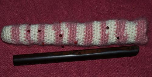 Hand crocheted flute bag